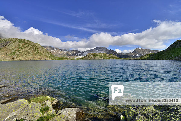 Grosser Schwarzsee lake or Lago Nero  Schneeberger Weisse Mountain at the rear