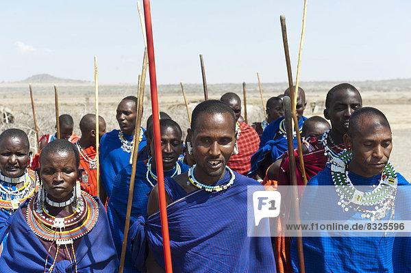 Massai  Gruppe von Männern und Frauen