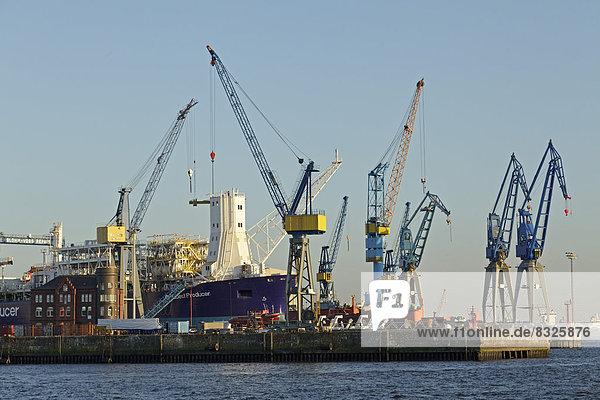 Werft Blohm und Voss und Verladekräne  Hamburger Hafen