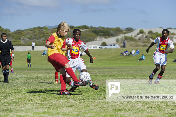 Teamwork jung Wettbewerb Football spielen