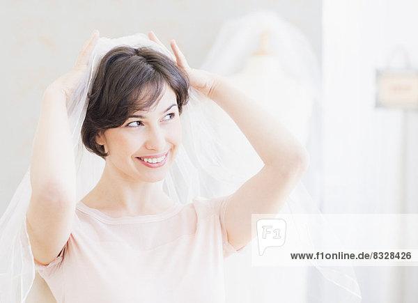 anprobieren , Portrait , Frau , Hochzeit , Schleier