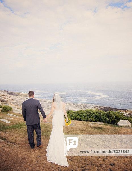 Ehepaar  gehen  Meer  Rückansicht  Ansicht