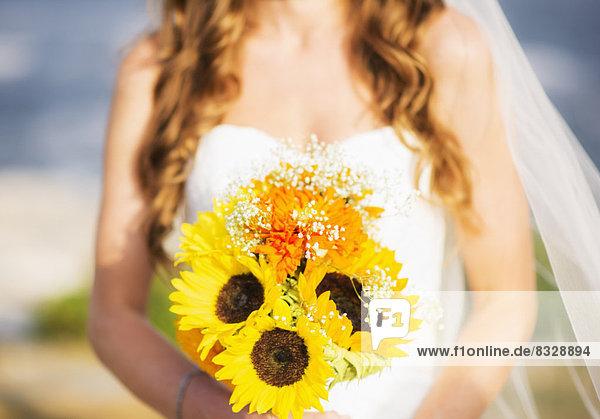 Anschnitt , Sonnenblume,  helianthus annuus , Blumenstrauß,  Strauß , Braut , halten , Mittelpunkt
