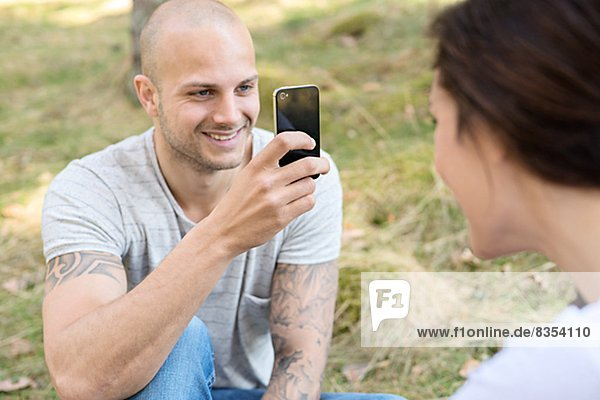 Mann , Fotografie , nehmen , lächeln , Telefon , Handy