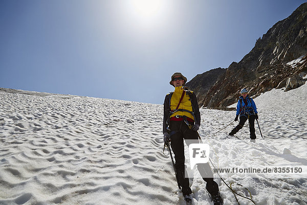 Eiskletterer am Sexegertenferner  Pitztal  Tirol  Österreich