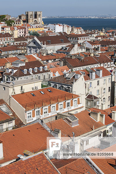 View from Elevador de Santa Justa elevator tower over the roofs of the historic town centre  Lisbon  Lisbon District  Portugal