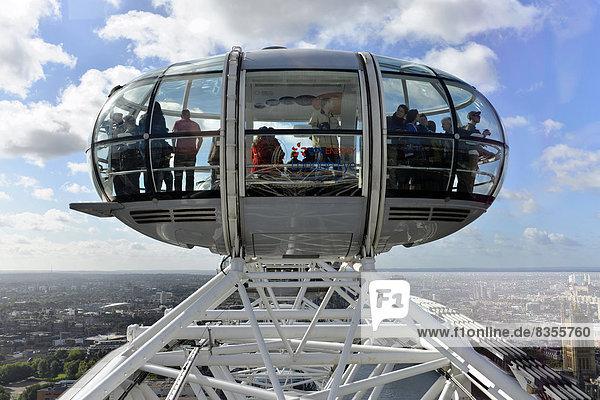 Kapsel des London Eye oder Millennium Wheel  Riesenrad  London  Greater London  England  Großbritannien