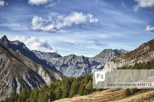 Das Tal Val Viera  links der Berg Cima Cavalli  bei Livigno  Provinz Sondrio  Lombardei  Italien