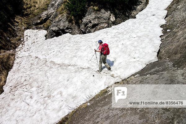 Wanderin überquert ein Schneefeld  auf dem Wilder-Kaiser-Steig  Kaisergebirge  bei Ellmau  Tirol  Österreich