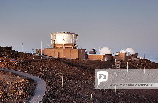 Observatory on the summit of the Haleakala volcano  Haleakala National Park  Maui  Hawaii  USA