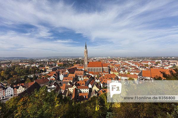Deutschland  Bayern  Landshut  Stadtbild mit Martinskirche