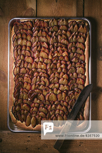 Pflaumenkuchen auf Backblech