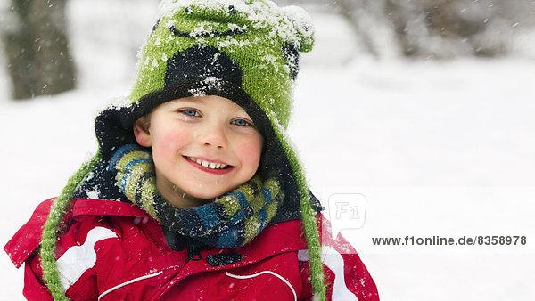 Portrait of boy in winter