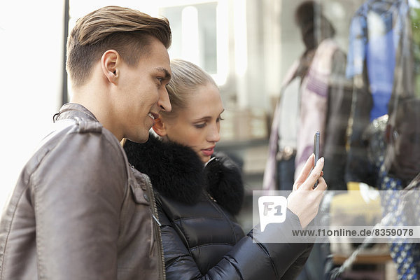 Young couple going shopping  close-up