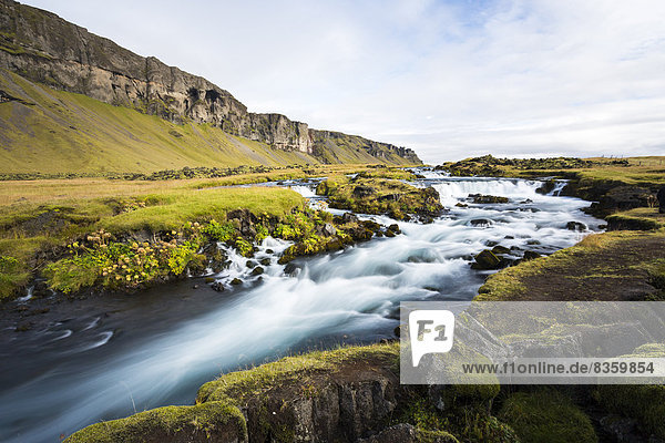 Iceland  Sudurland  Ring road with waterfall