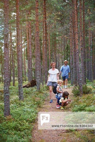 Eltern wandern mit Töchtern durch den Wald