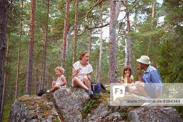 Familie sitzt auf Felsen im Wald und isst Picknick