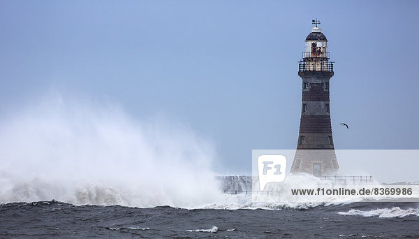 Wasser planschen Leuchtturm Zusammenstoß England Sunderland Tyne and Wear Wasserwelle Welle