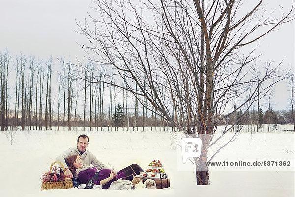 Winter  Picknick  Schwangerschaft  Alberta  Kanada  Edmonton