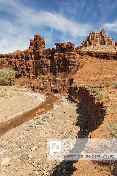 Vereinigte Staaten von Amerika  USA  Felsbrocken  Palast  Schloß  Schlösser  Anordnung  Ansicht  sprechen  Riff  Sandstein  Utah