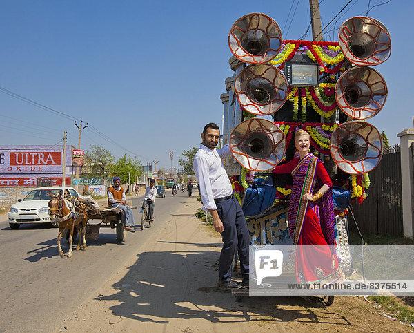 Fernverkehrsstraße  Fuhrwerk  Dekoration  mischen  Seitenansicht  Indien  Mixed  Punjab