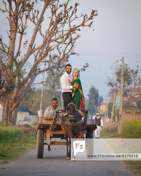 stehend  ziehen  Fuhrwerk  mischen  umarmen  Indien  Mixed  Punjab