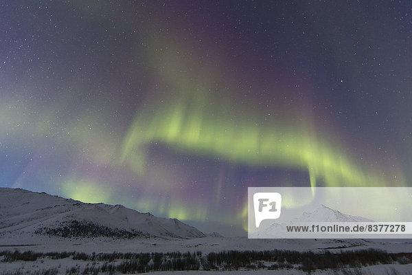 Berg  über  Bundesstraße  vorwärts  Polarlicht  Aurora  Kanada  Dämmerung  Yukon