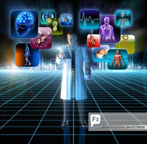 Arzt benutzt Tablet-PC mit verschiedenen medizinischen Apps