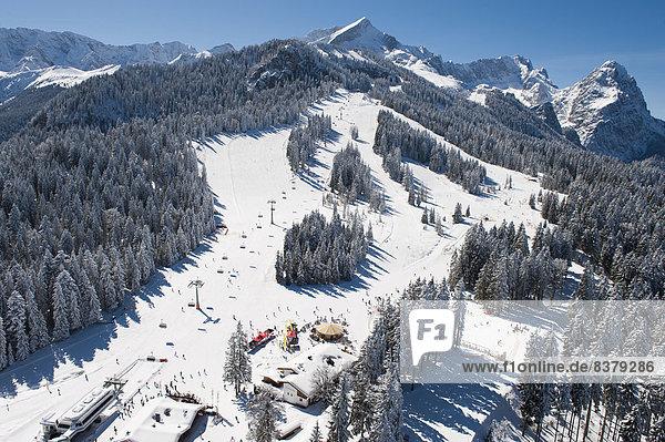 Skiers on Hausberg Mountain  winter landscape  Garmisch-Partenkirchen  Bavaria  Germany