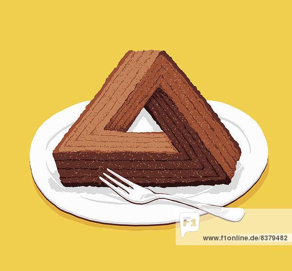Schokoladenkuchen als optische Täuschung