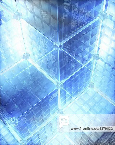 Beleuchtetes futuristisches Würfelsystem