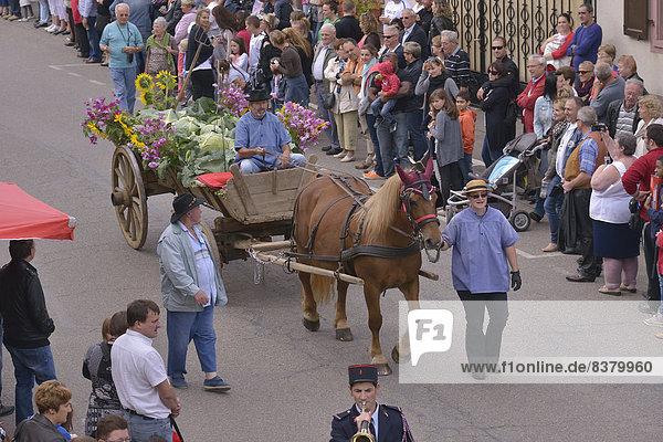 'Traditioneller Umzug auf der ''Fête de la Choucroute''  Sauerkrautfest  Krautergersheim  Département Bas-Rhin  Elsass  Frankreich'