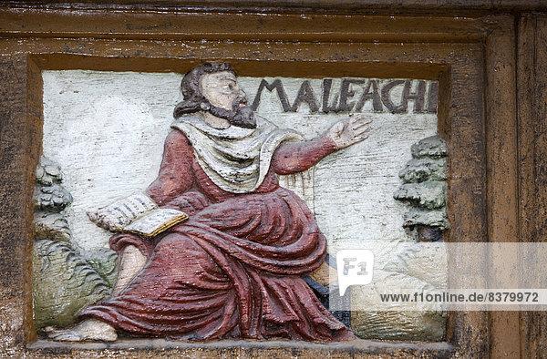 Malachi  a Jewish prophet  wood carving  Alte Lateinschule Alfeld building  Alfeld  Lower Saxony  Germany