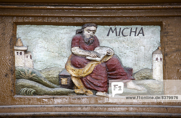 The prophet Micah or Mikhahu  wood carving  Alte Lateinschule Alfeld building  Alfeld  Lower Saxony  Germany