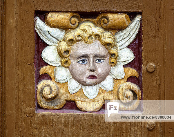 Putto  wood carving  Alte Lateinschule Alfeld building  Alfeld  Lower Saxony  Germany
