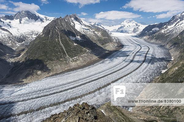 Alpen Aletschgletscher Kanton Wallis Eiger UNESCO-Welterbe schweizerisch Schweiz