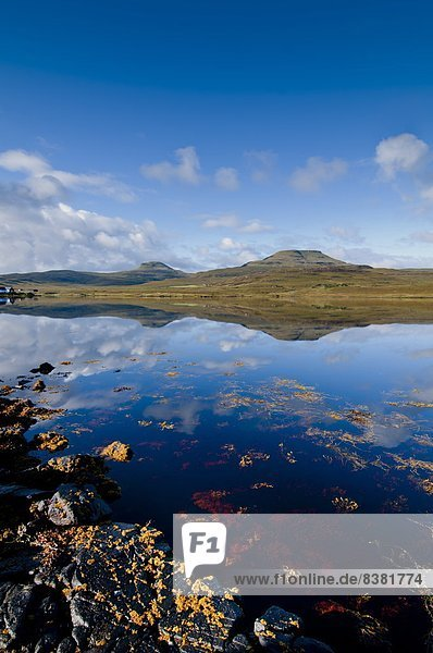 Craggy seascape of Loch Dunvegan on the Isle of Skye  with Macleod's Table in background.  Isle of Skye  Inner Hebrides  Scotland  United Kingdom  Europe