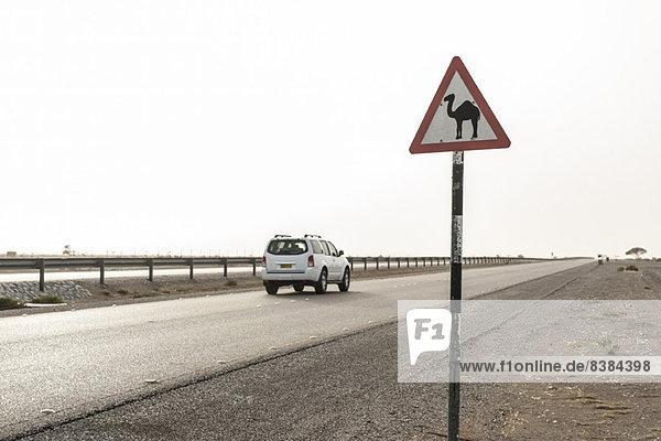 SUV fährt an Straßenschildern vorbei  die den Fahrer auf die Anwesenheit von Kamelen aufmerksam machen.