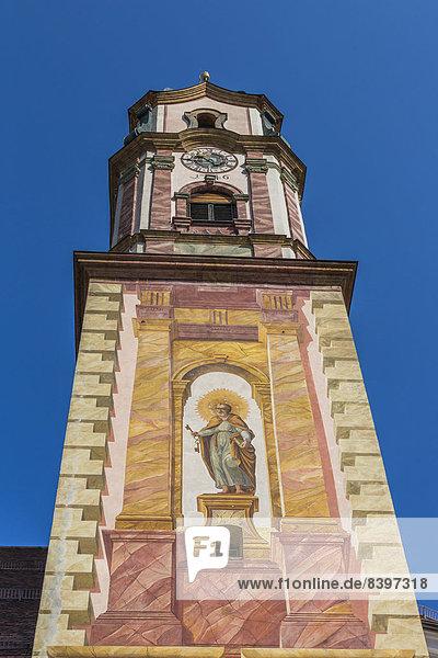 Kirche St. Peter und Paul  Mittenwald  Oberbayern  Bayern  Deutschland