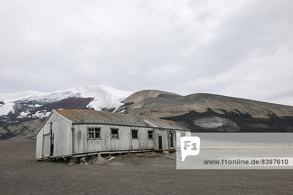 The dilapidated research station  Deception Island  South Shetland Islands  Antarctic Peninsula  Antarctica