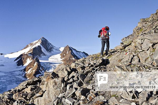 Bergsteiger auf dem Richterweg  hinten die Weißkugel  Langtaufers  Vinschgauer Oberland  Südtirol  Italien