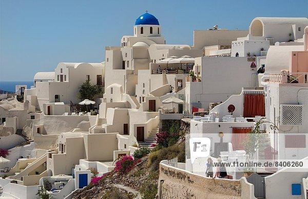 Berg  Schönheit  Ruhe  Gebäude  weiß  Insel  Griechenland  Santorin  Kykladen  griechisch  Oia  Ia  Platz  steil