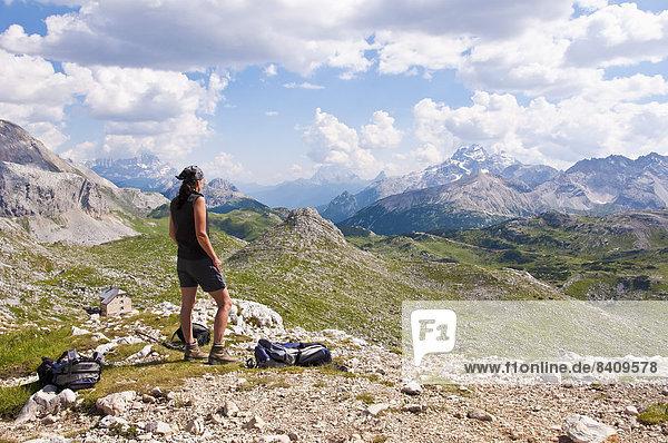 Italy  South Tyrol  Dolomites  Fanes-Sennes-Prags Nature Park  Hiker at Seekofel