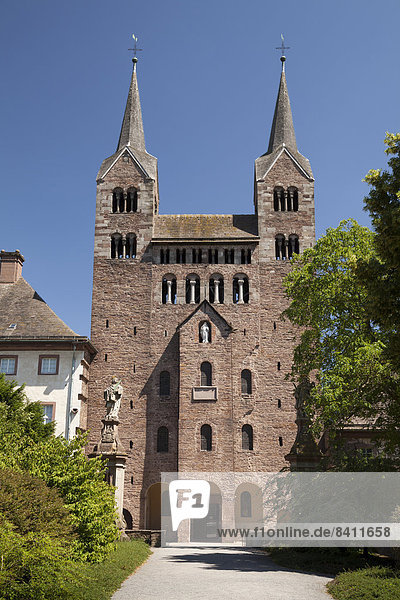 Parish Church of St. Stephen and Vitus of Schloss Corvey Castle and Abbey of Corvey  Höxter  Weser Uplands  North Rhine-Westphalia  Germany