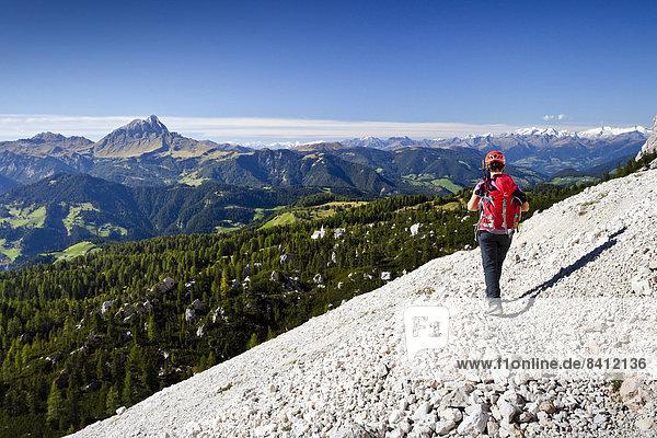 Bergsteiger beim Abstieg über den Heiligkreuzkofelsteig vom Heiligkreuzkofel in der Fanesgruppe im Naturpark Fanes-Sennes-Prags  unten das Gadertal  hinten der Peitlerkofel  Alta Badia  Dolomiten  Südtirol  Italien