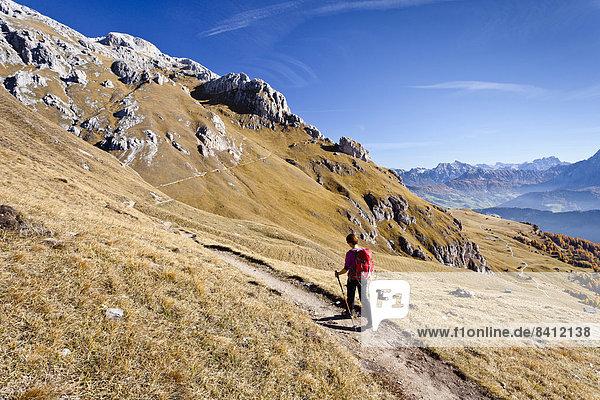 Bergsteiger auf dem Dolomiten-Höhenweg beim Aufstieg auf den Peitlerkofel im Naturpark Puez-Geisler  unten das Gadertal  Dolomiten  Südtirol  Italien