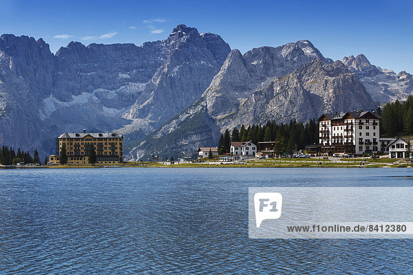 Misurinasee in den Dolomiten  Misurina-Pass  Provinz Südtirol  Trentino-Südtirol  Italien