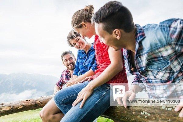 Four friends having fun  Tyrol Austria
