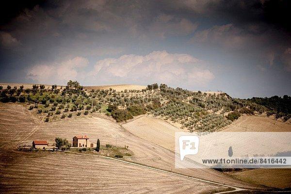 Bauernhaus im Feld  Siena  Valle Orcia  Toskana  Italien