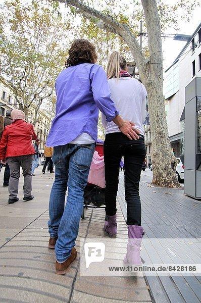 Couple at La Rambla  Barcelona  Catalonia  Spain